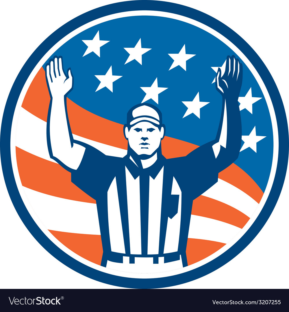 American Football Official Referee Touchdown vector image