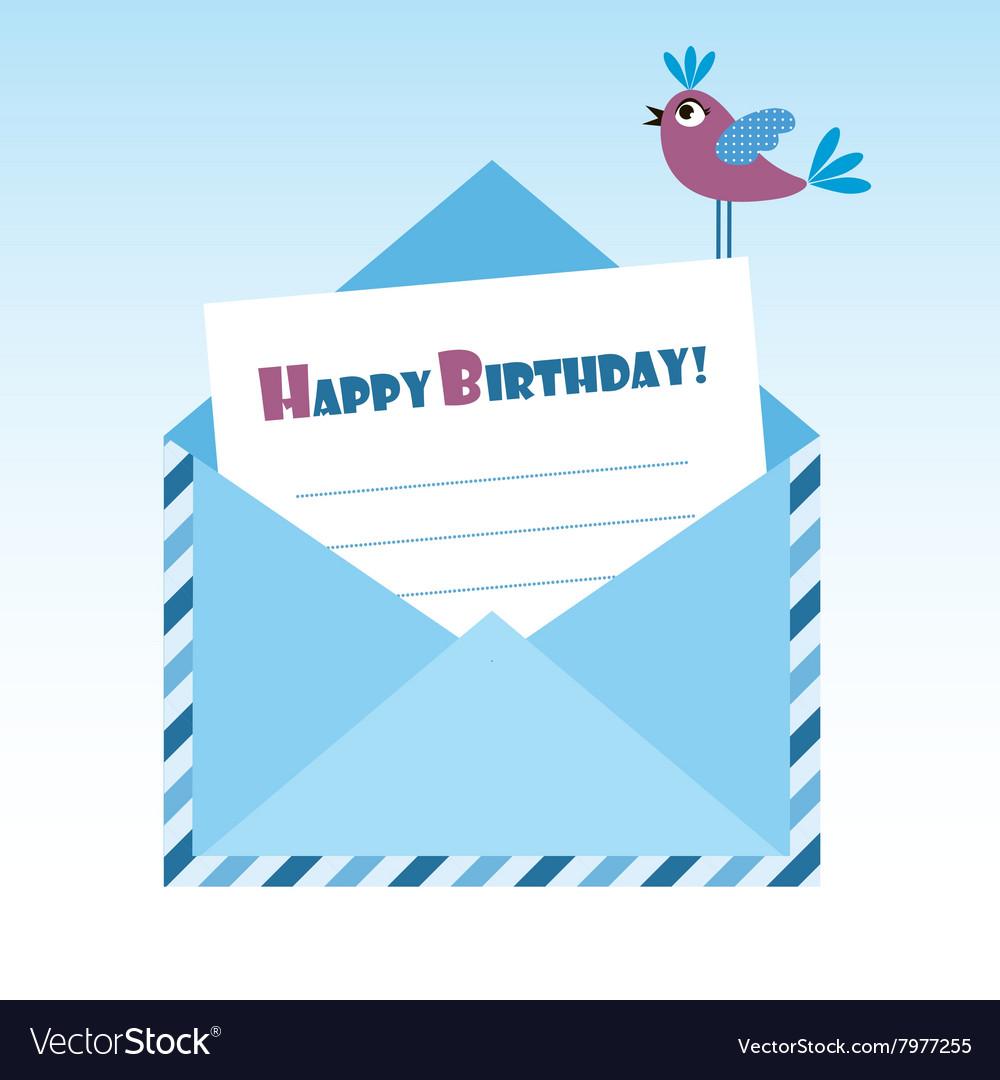 Birthday blue envelope with bird