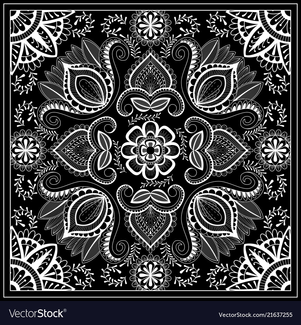 Black And White Abstract Bandana Print With Vector Image