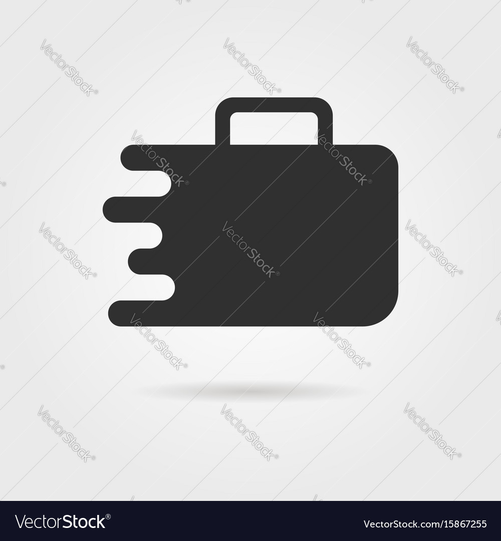Black travel suitcase icon with shadow
