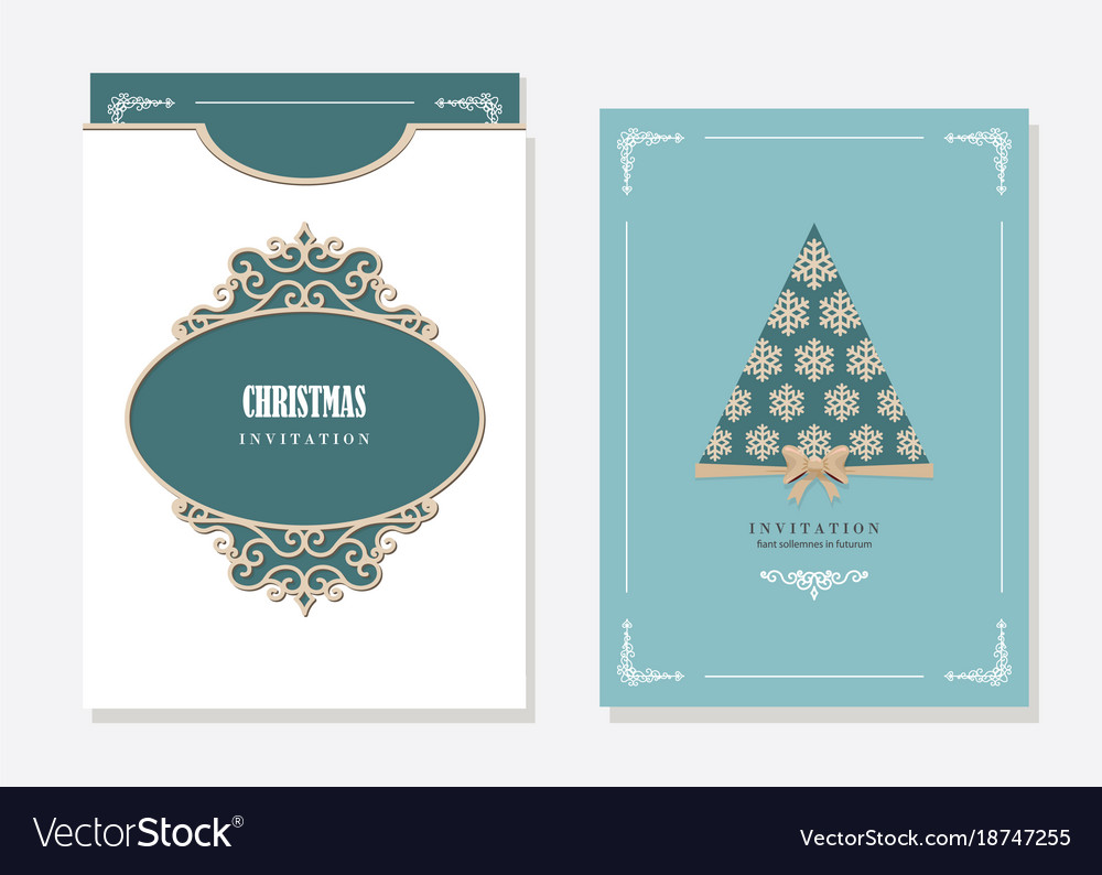 christmas party invitation and envelope template vector image