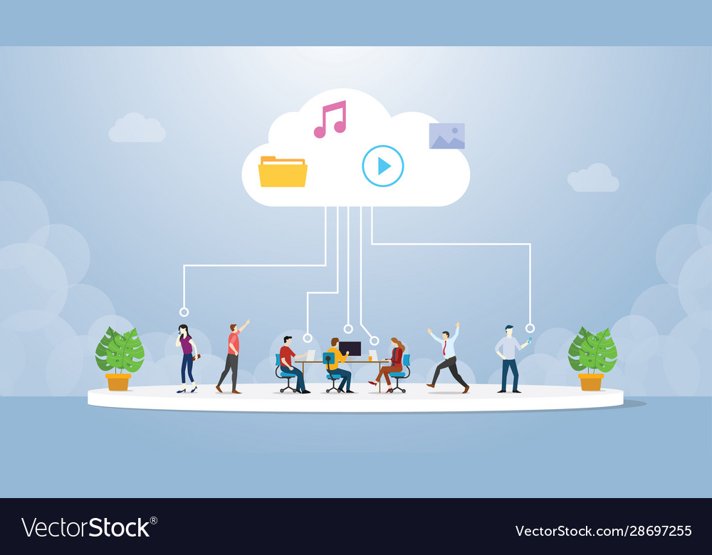 Cloud computing technology with various people
