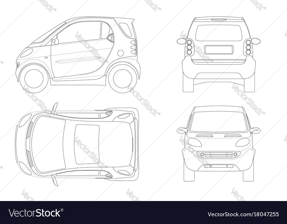 Compact smart car in outline small compact vector image malvernweather Gallery