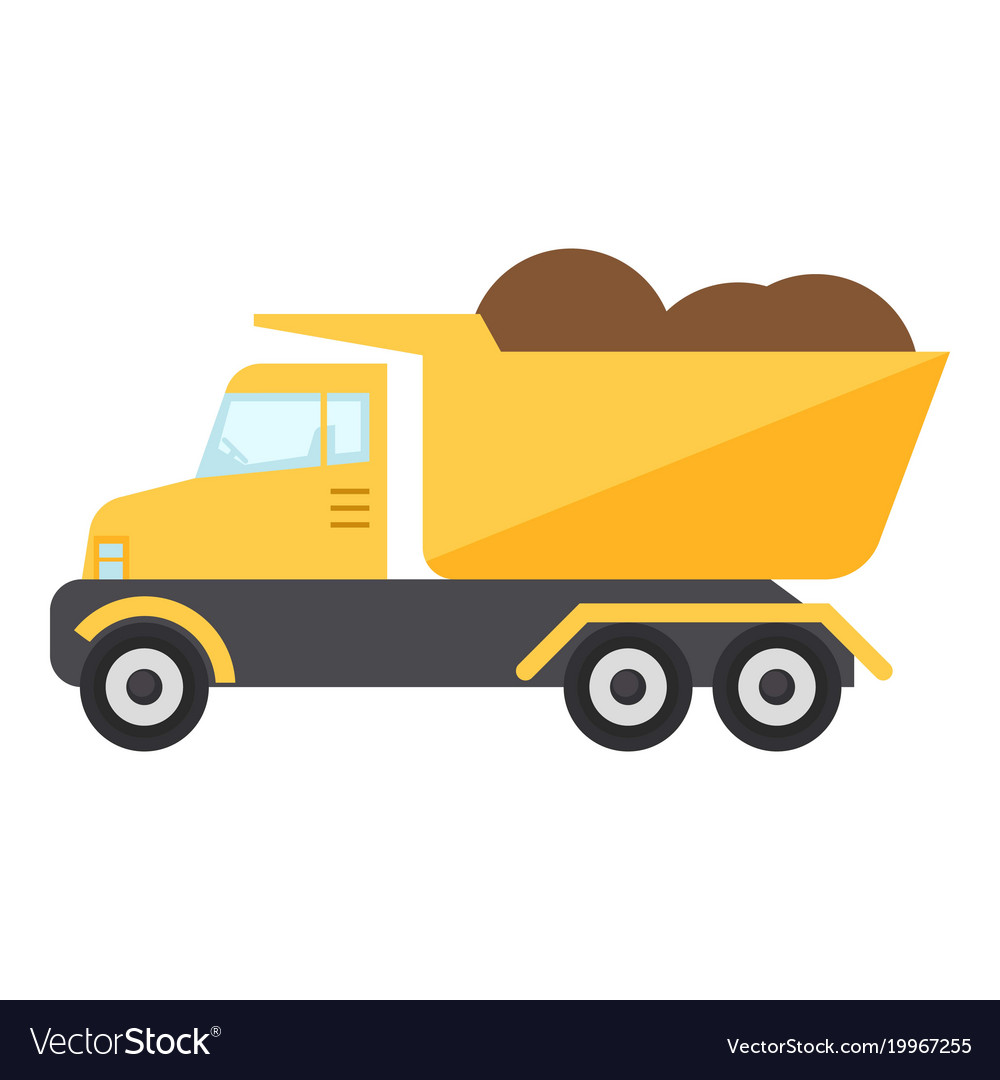 Construction truck icon flat style