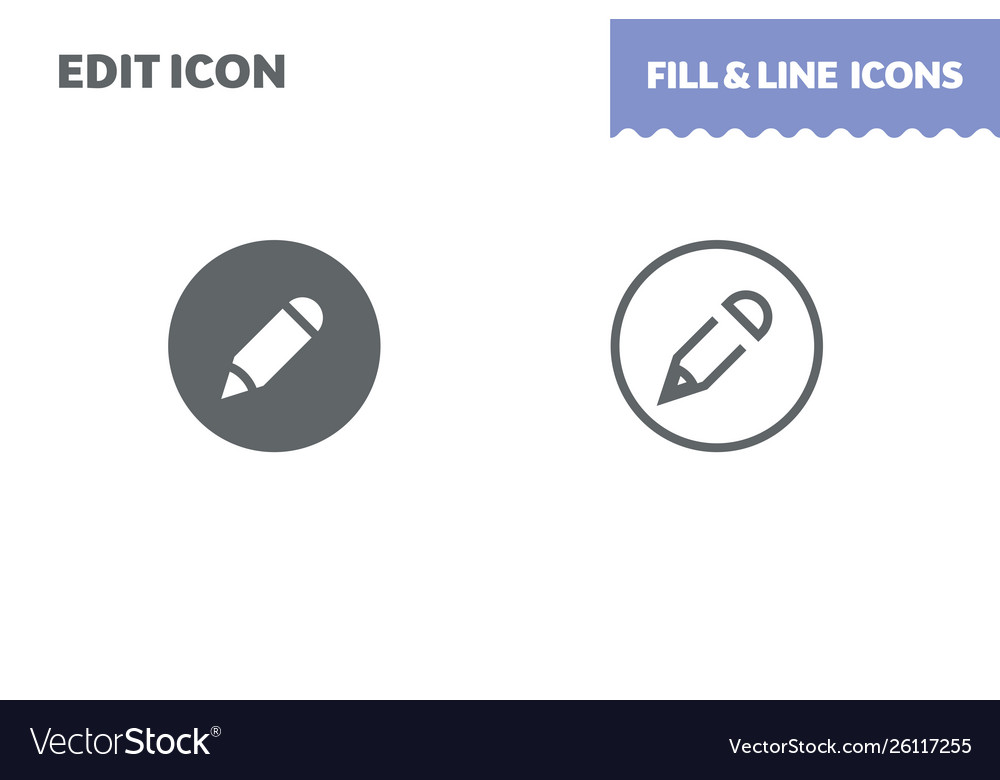 Edit icon fill and line flat design ui
