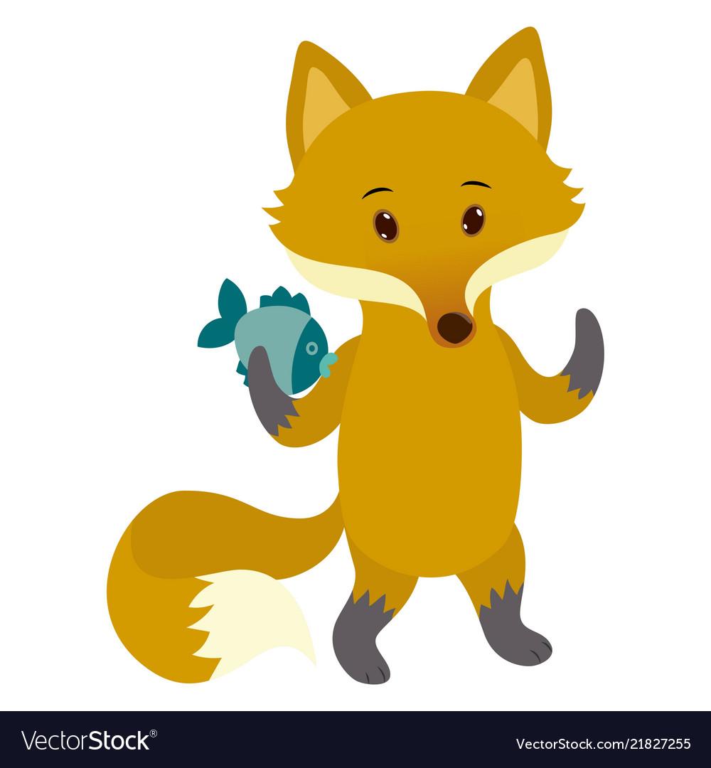 Hand drawn fox natural colors