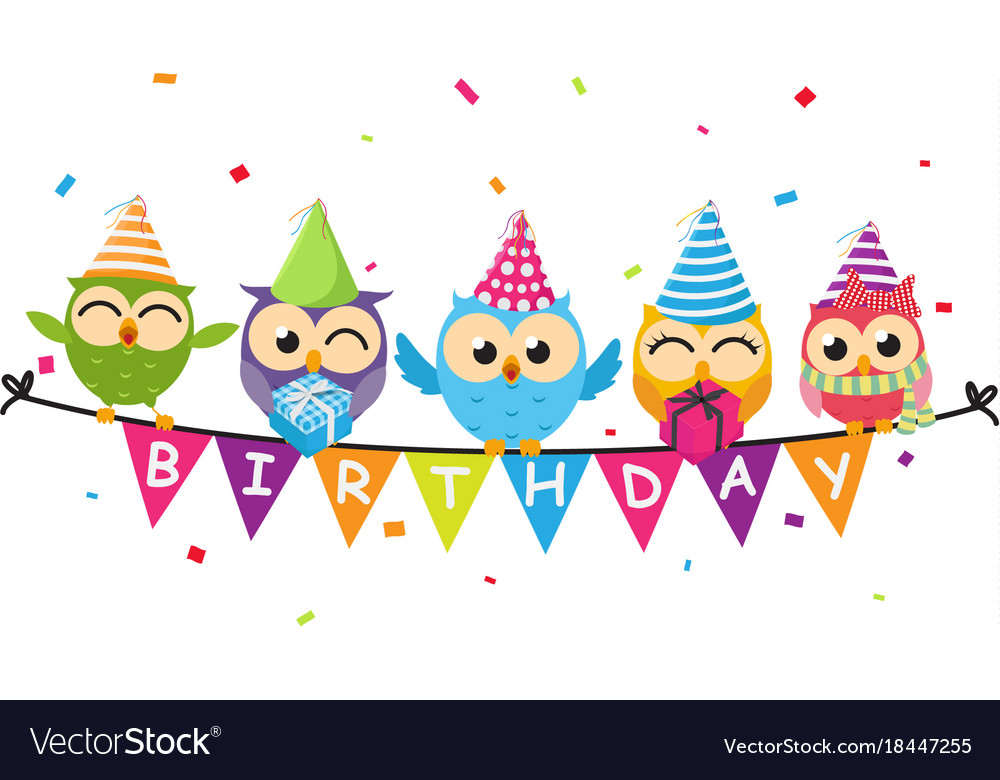 Happy birthday card with owl and bunting flag vector image
