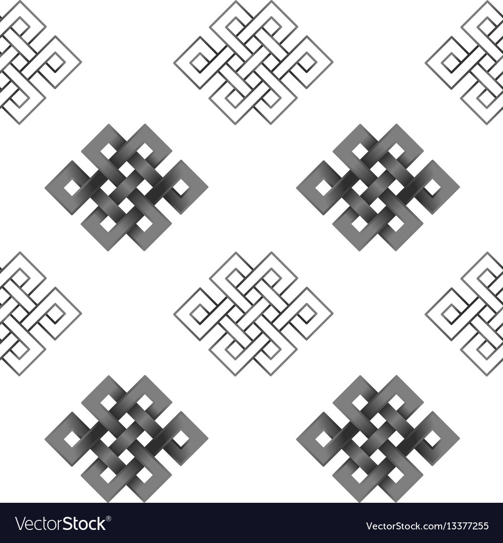 Seamless pattern of silver endless knot