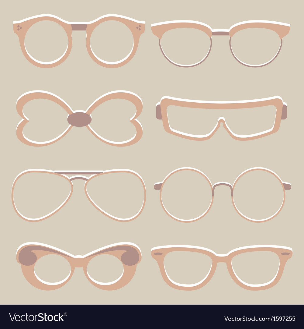 Set of cute glasses vector image