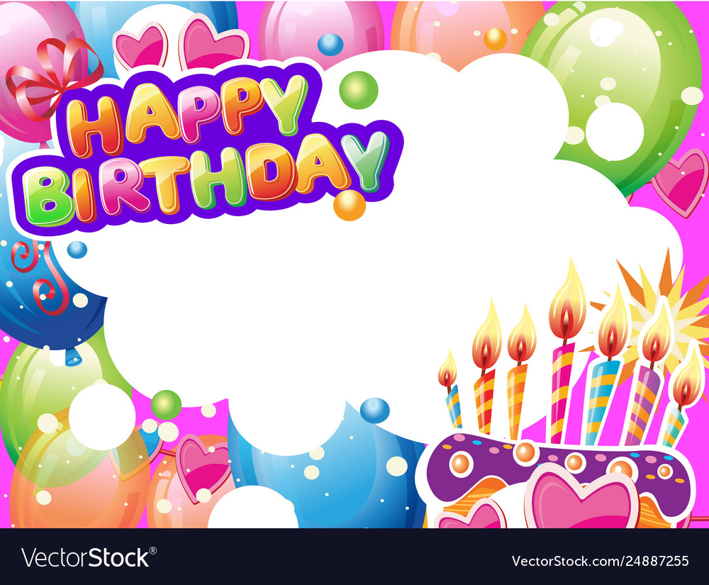 Template for birthday card with place for text