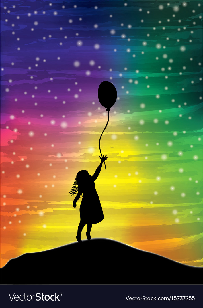 The girl with the balloon on the sky