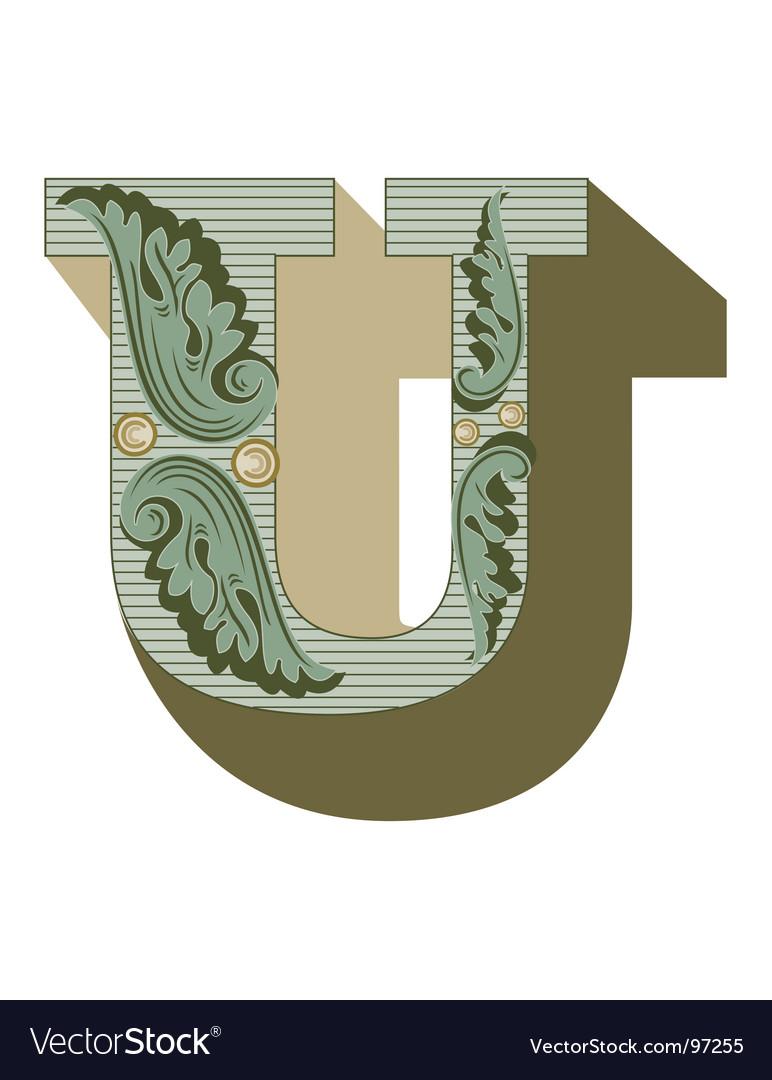 Western letter u vector image