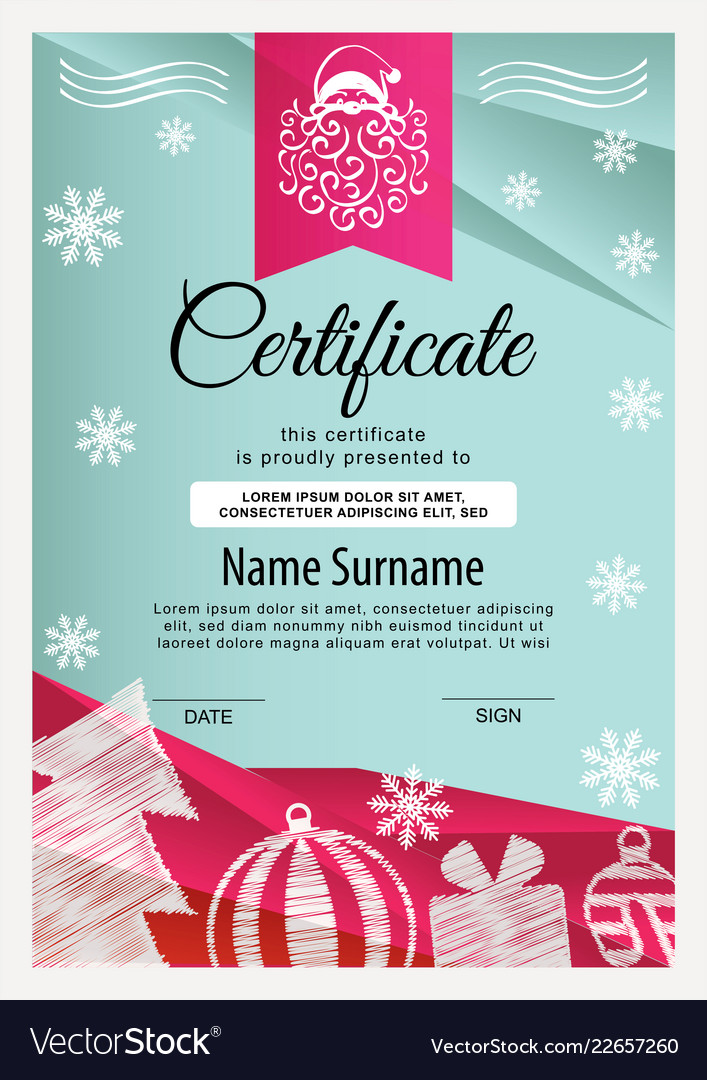 Christmas Certificate.Christmas Certificate Turquoise Red Triangle