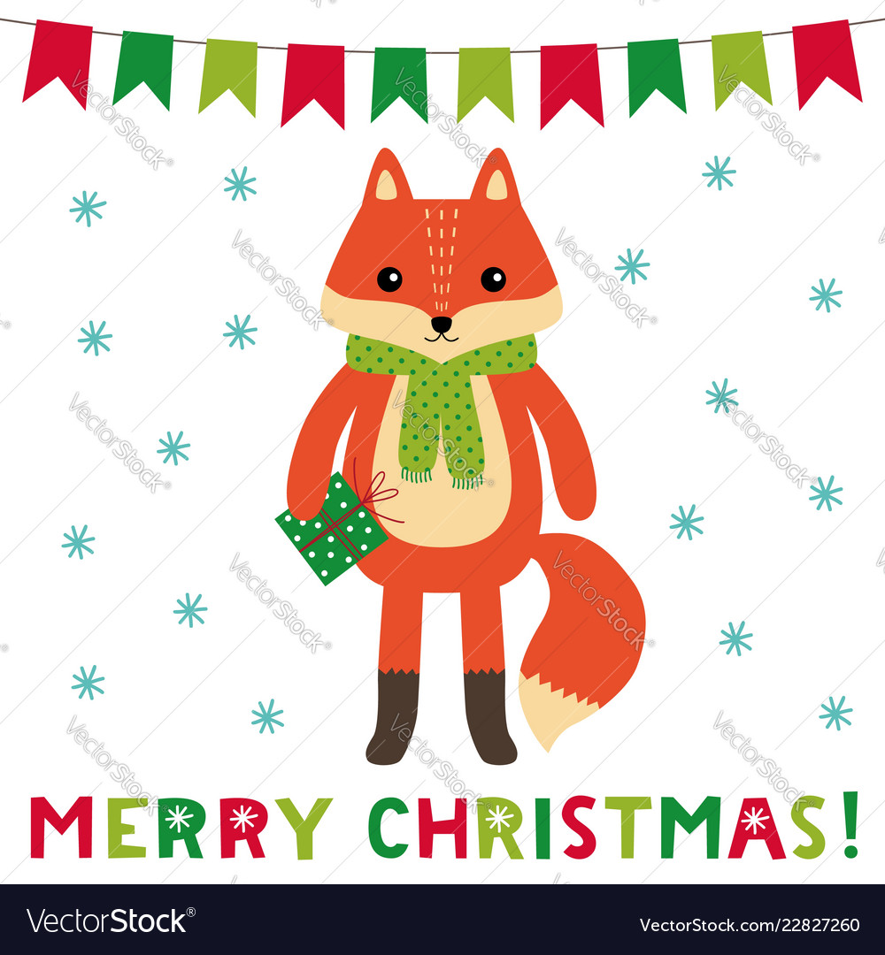 Christmas greeting card with a cute cartoon fox