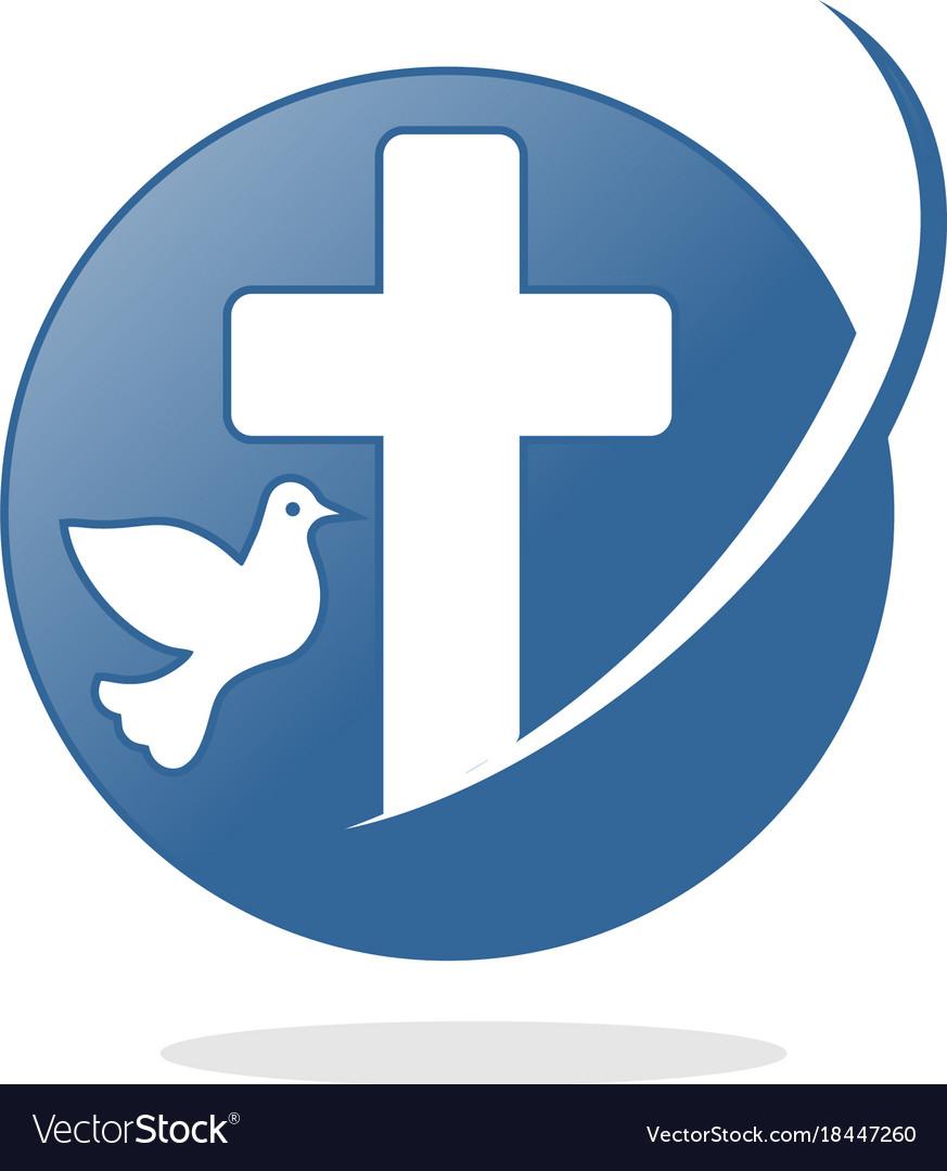 Circle christian cross logo