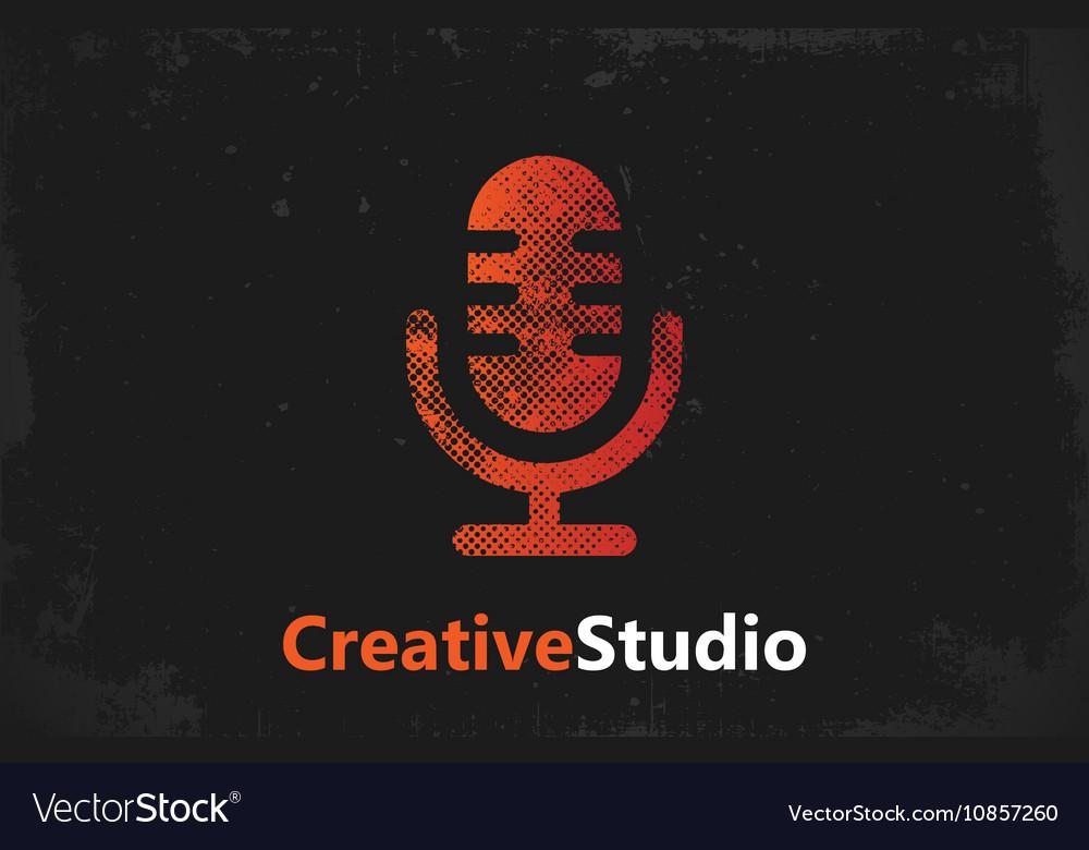 Microphone logo music studio logo design
