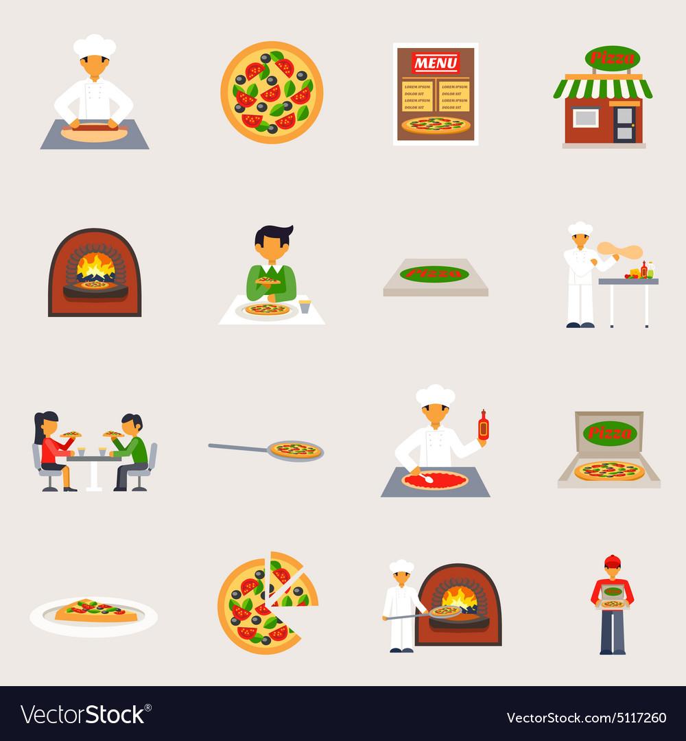Pizzeria Icons Set vector image