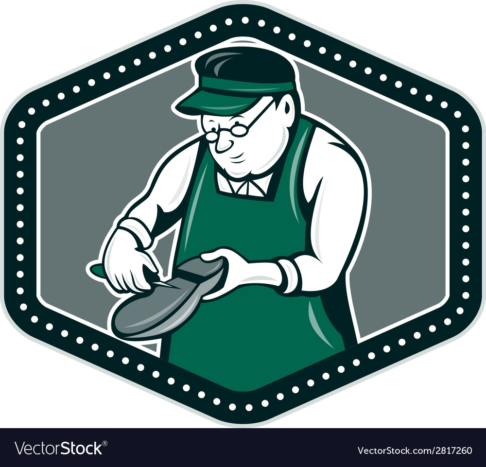 Shoemaker Cobbler Shield Cartoon vector image