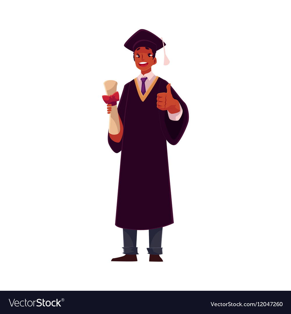 Student in graduation gown and cap with diploma Vector Image