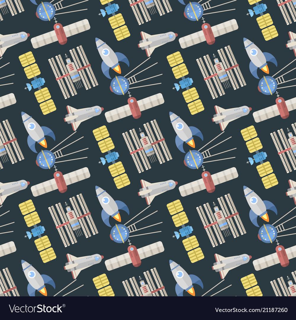 Stylish space ship seamless pattern background