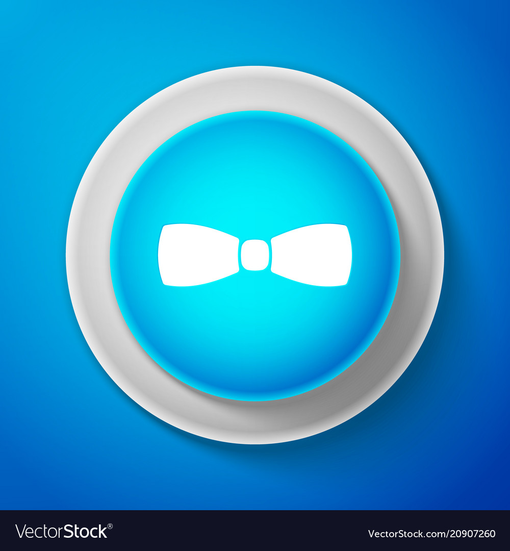 White bow tie icon isolated on blue background