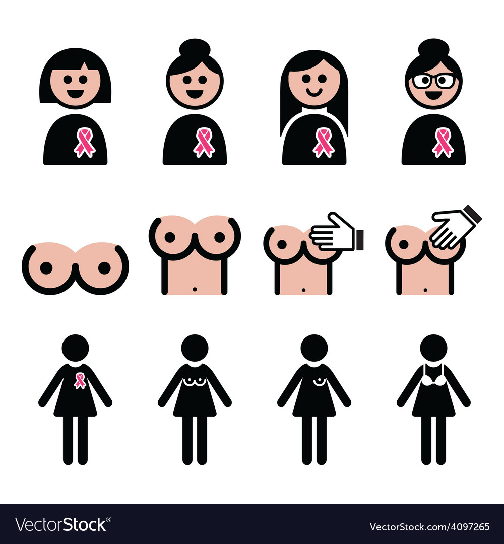Breast cancer woman with pink ribbon icons set