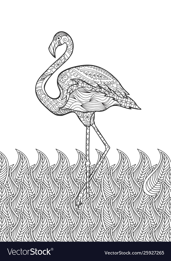 Coloring page with doodle style flamingo
