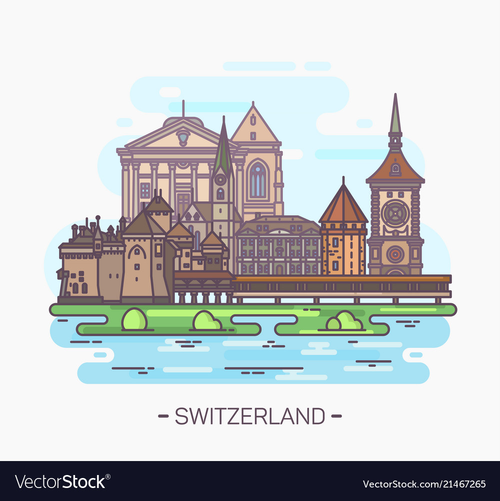 Famous swiss landmarks tower and cathedral
