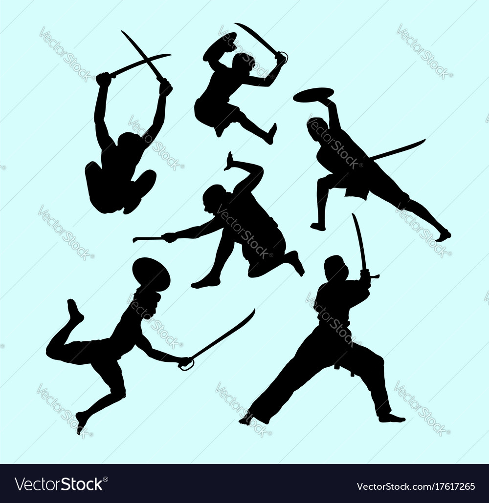 Martial art male and defense action silhouette