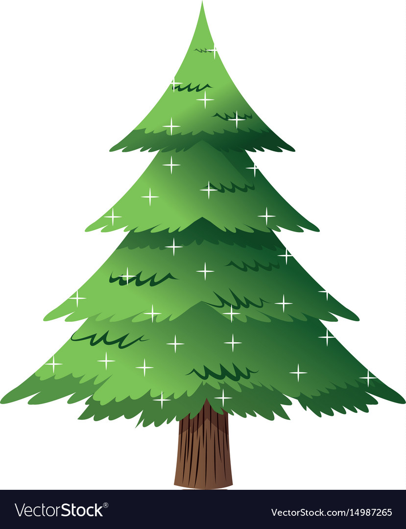 Pine tree light decoration merry christmas vector image