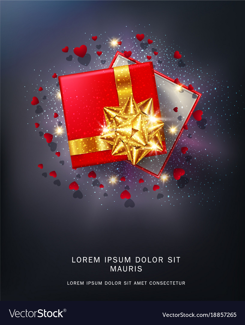 Red gift box with a gold bow