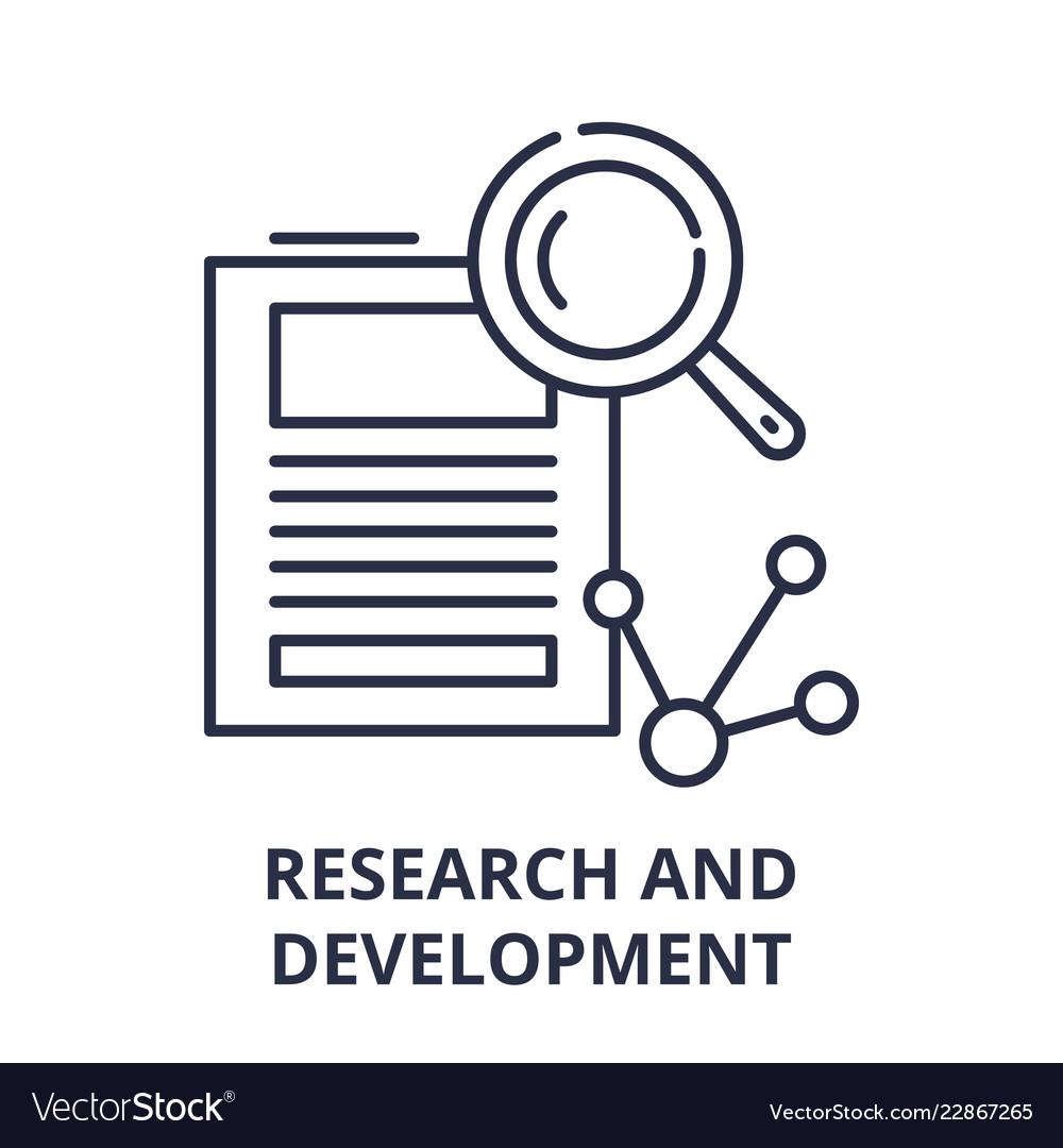 Research and development line icon concept