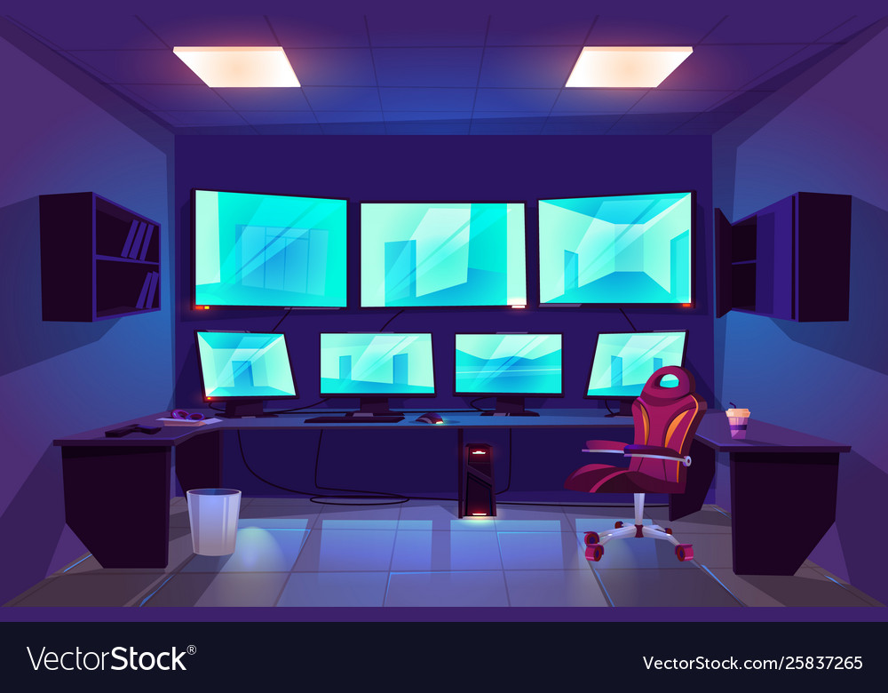 Security control cctv room interior with monitors