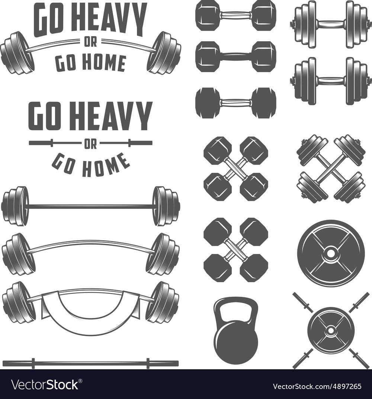 Set of vintage gym equipment design elements vector image