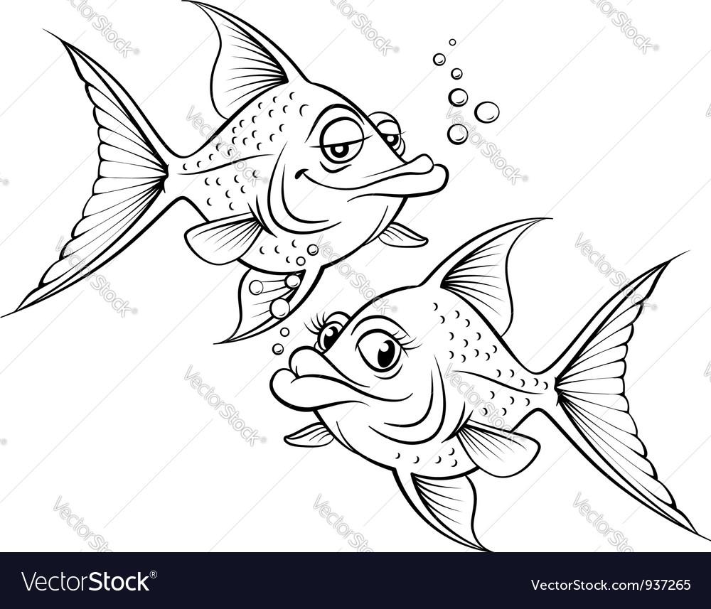 Two drawing cartoon fish