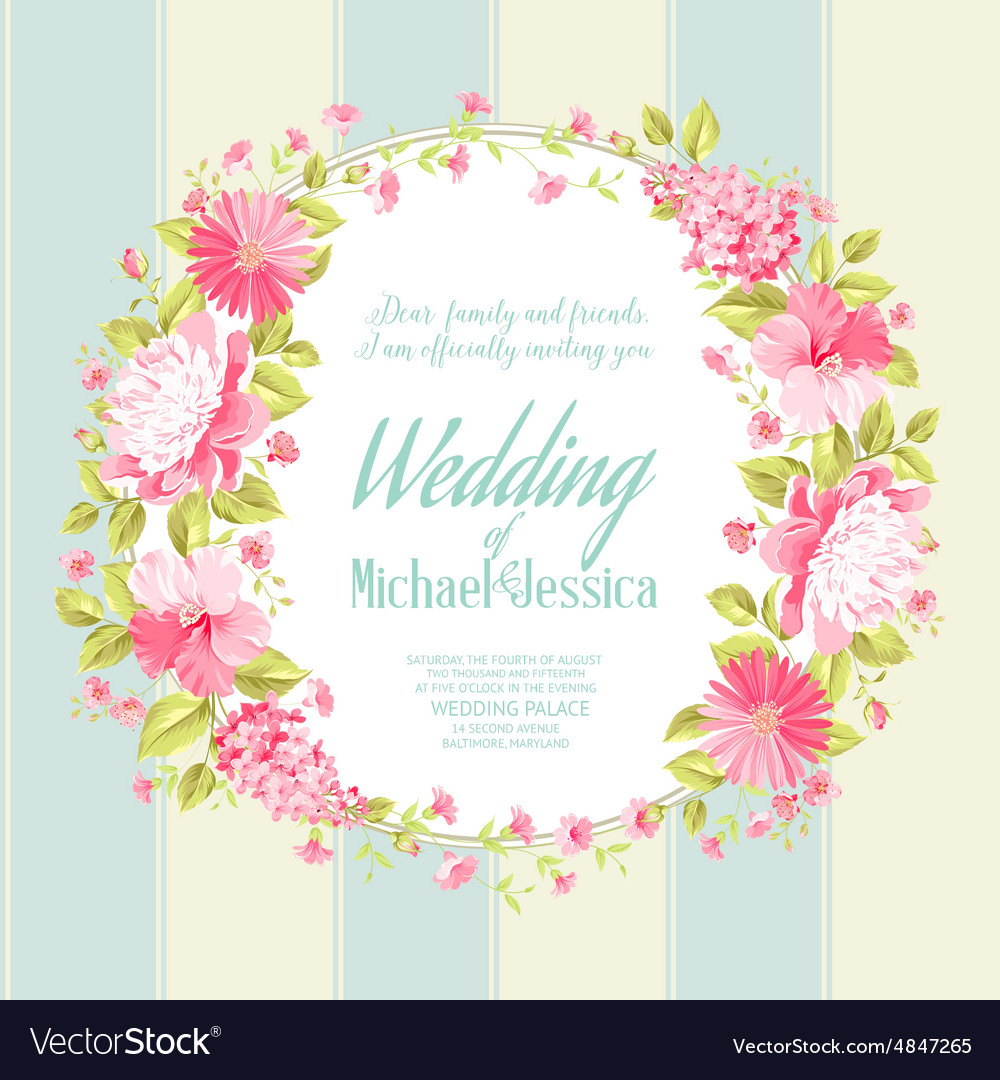 Wedding invitation card with custom text vector image