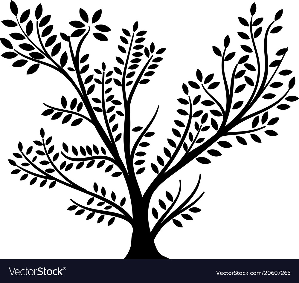 Whole black tree vector image