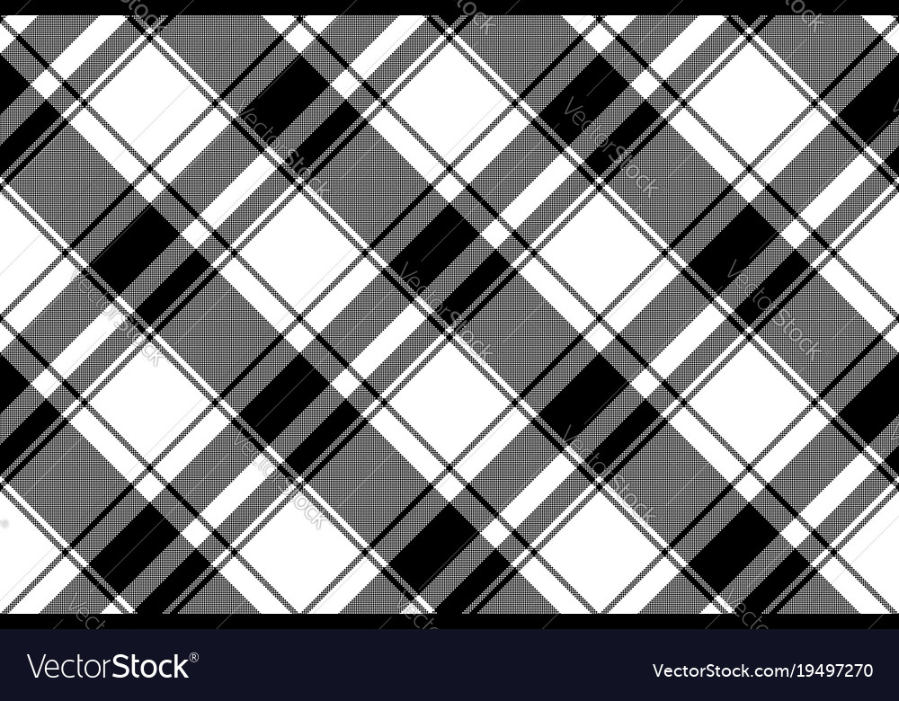 Black White Plaid Seamless Pixel Pattern Vector Image