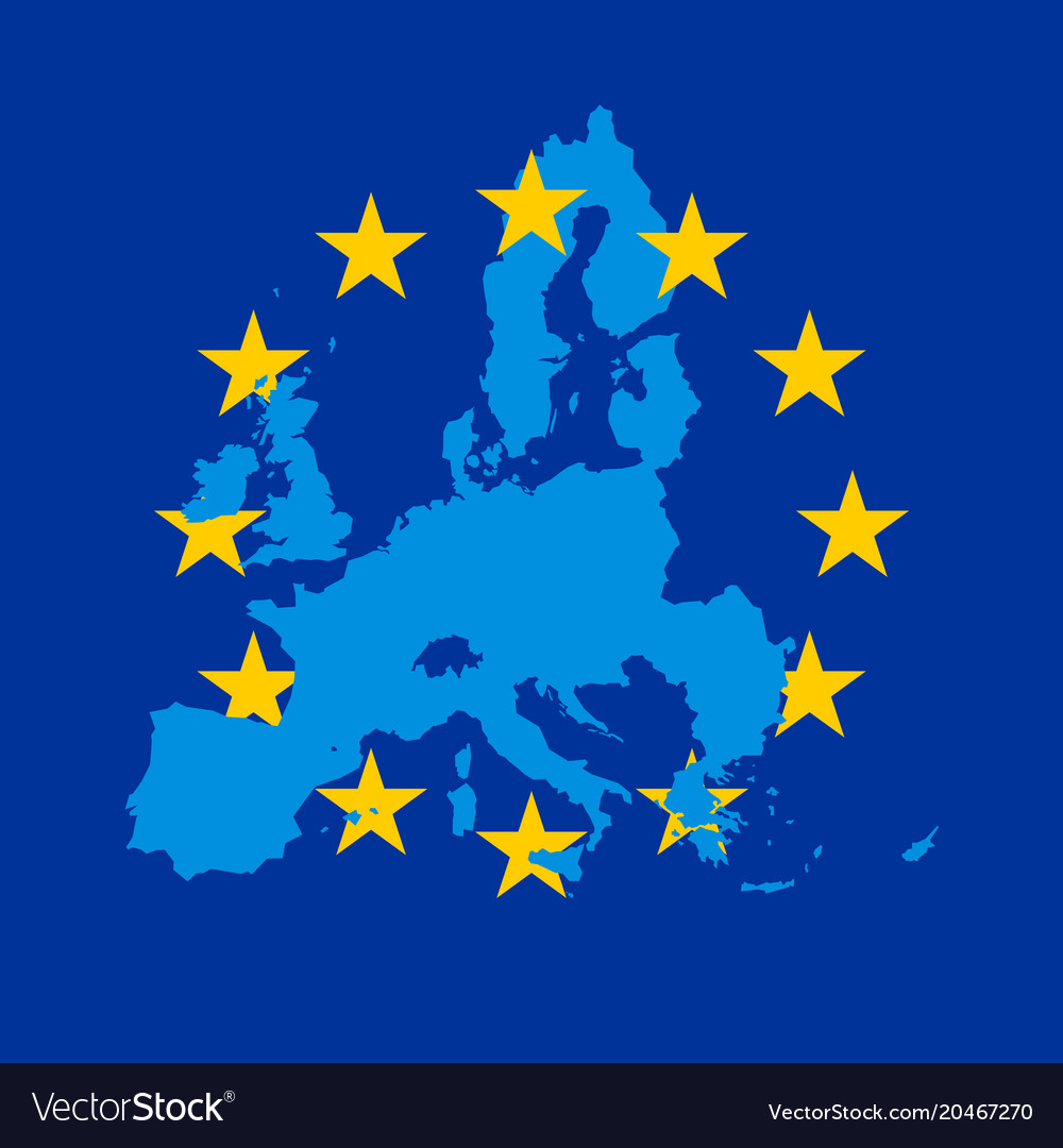 Blue map of european union combined with 12