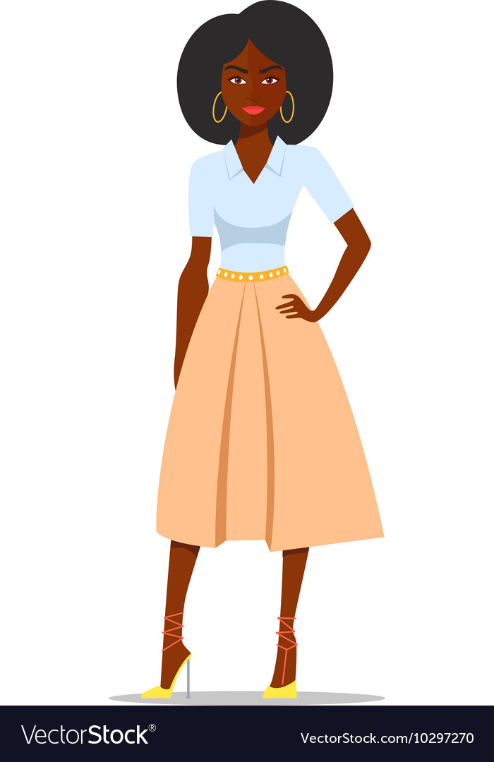 Cartoon African american woman with afro