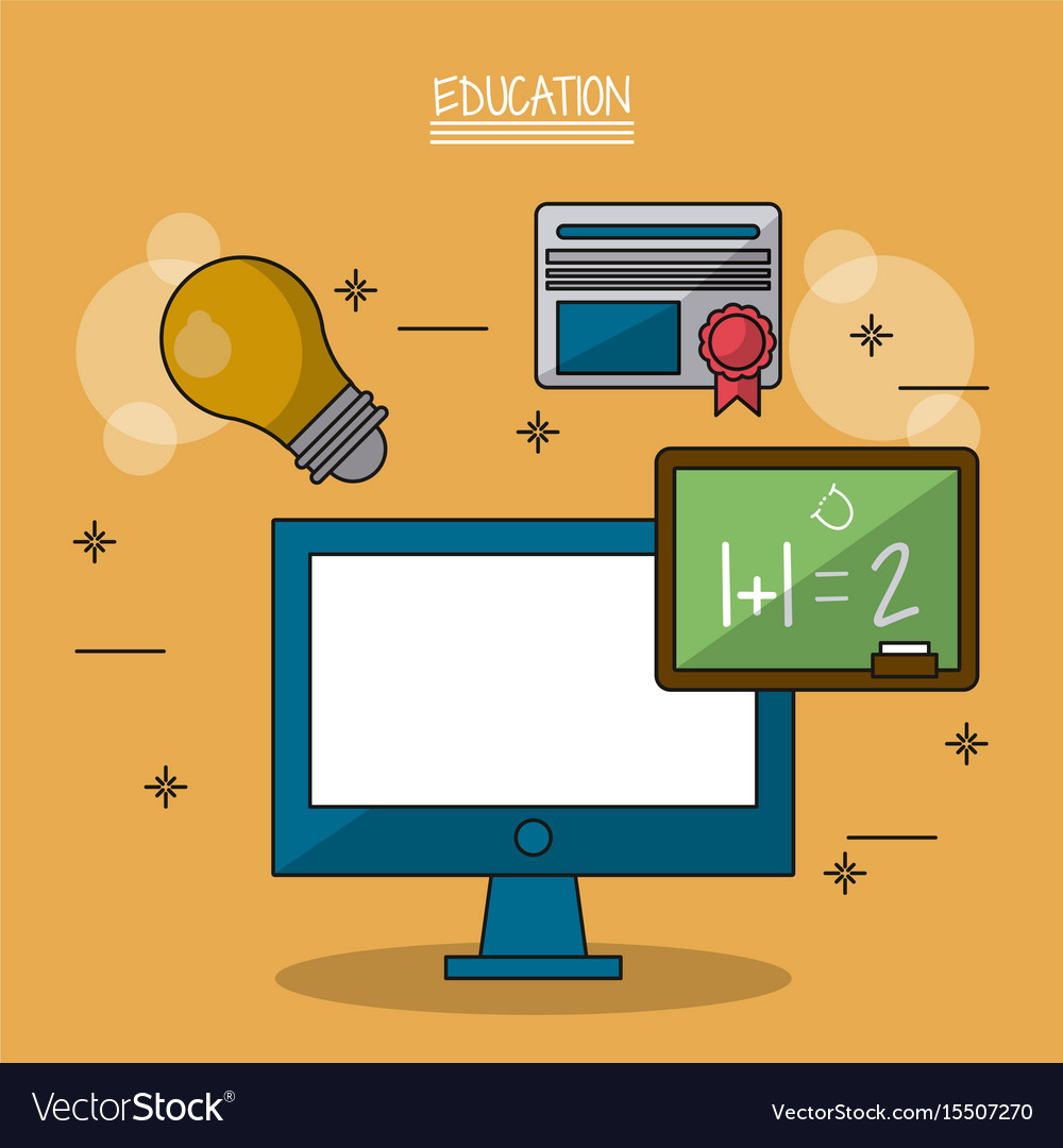 Colorful poster of education with computer and vector image