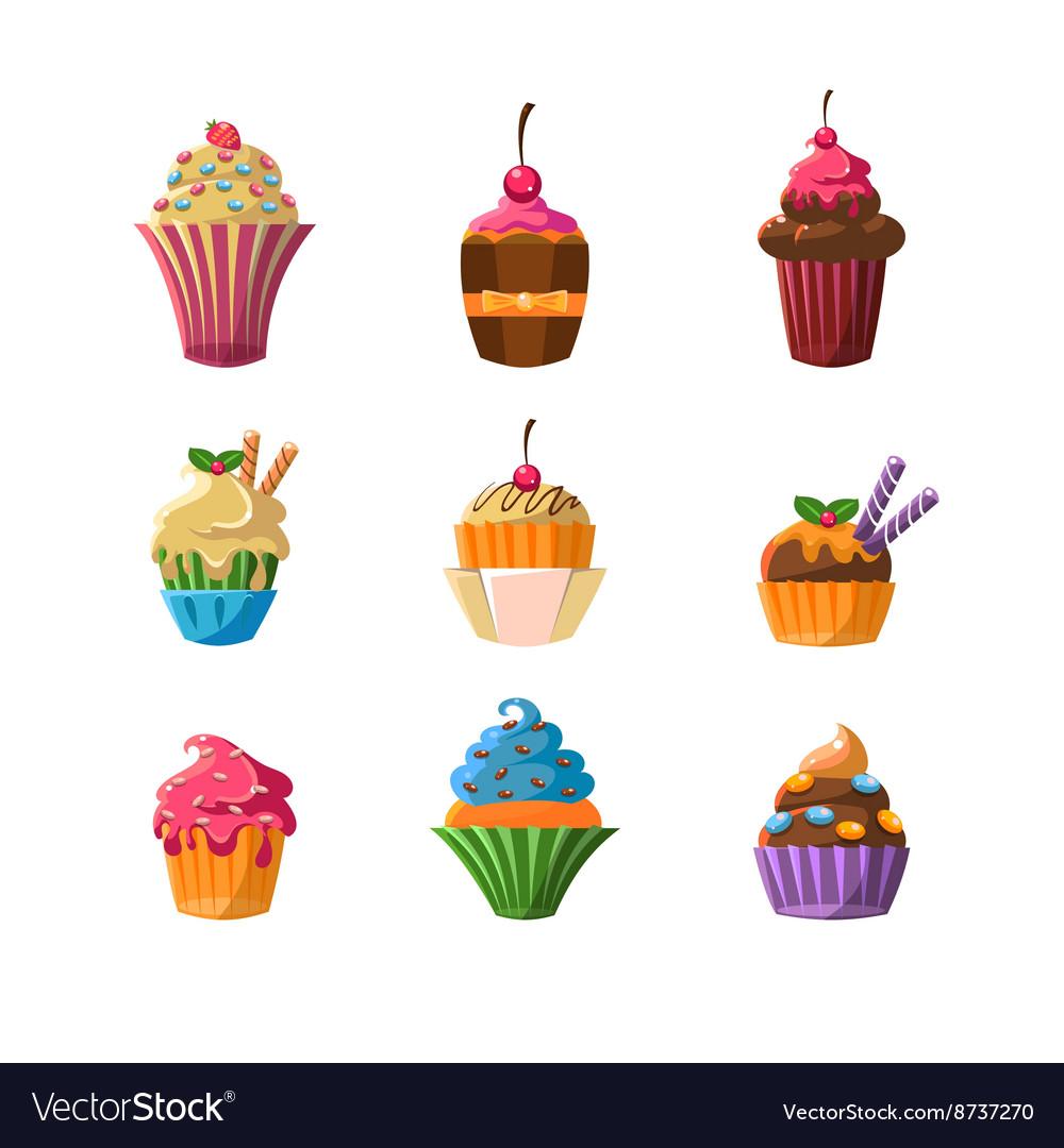 Decorated Cupcakes Sticker Set