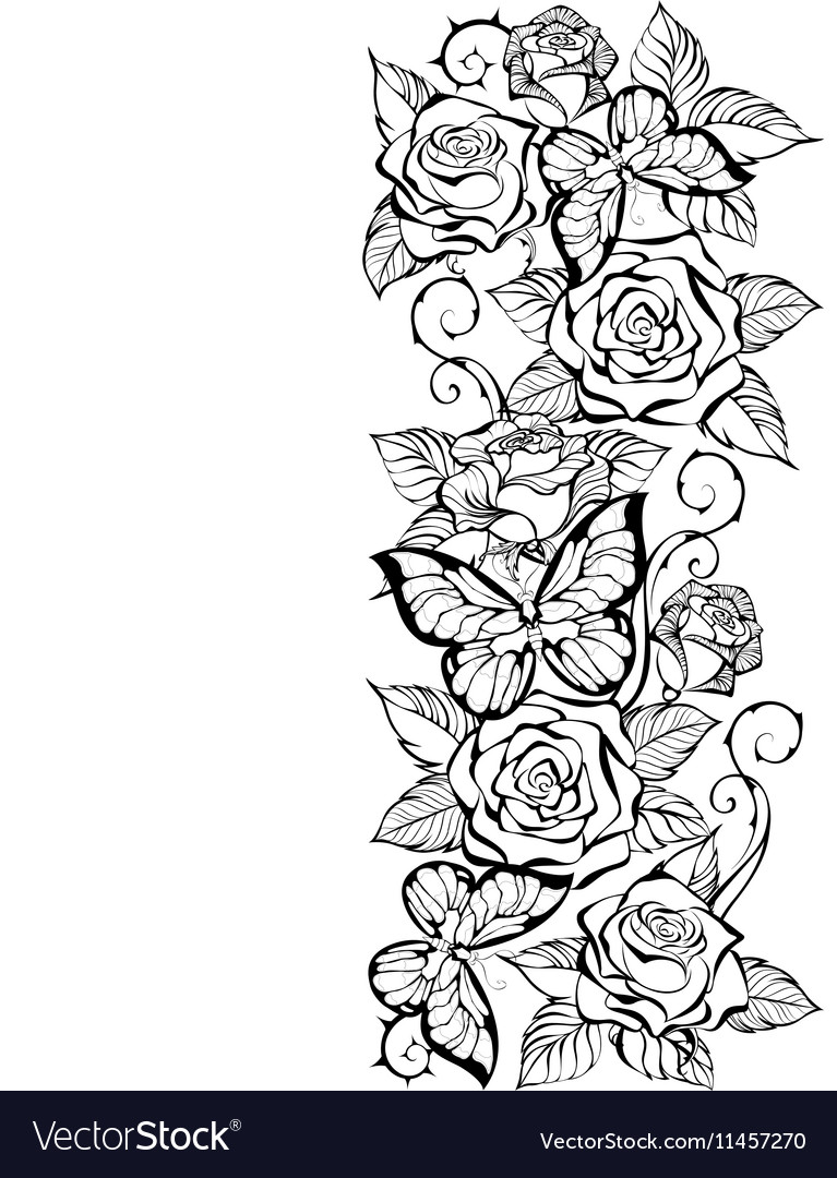 Edge of Contour Roses and Butterflies