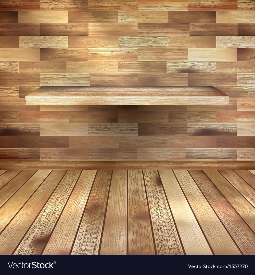 Empty interior with wood shelf EPS 10