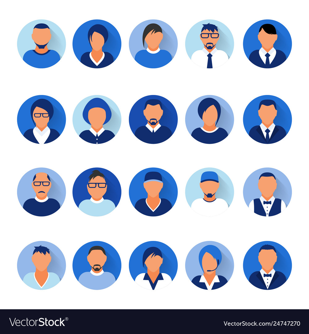Flat modern blue minimal avatar icons business