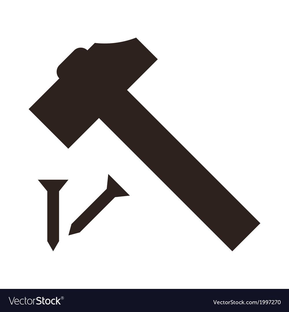 Hammer And Nail Icon Royalty Free Vector Image