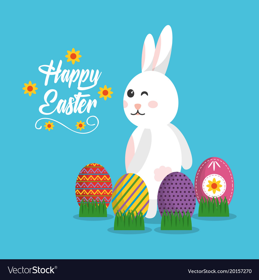 Happy easter rabbit with eggs on grass poster