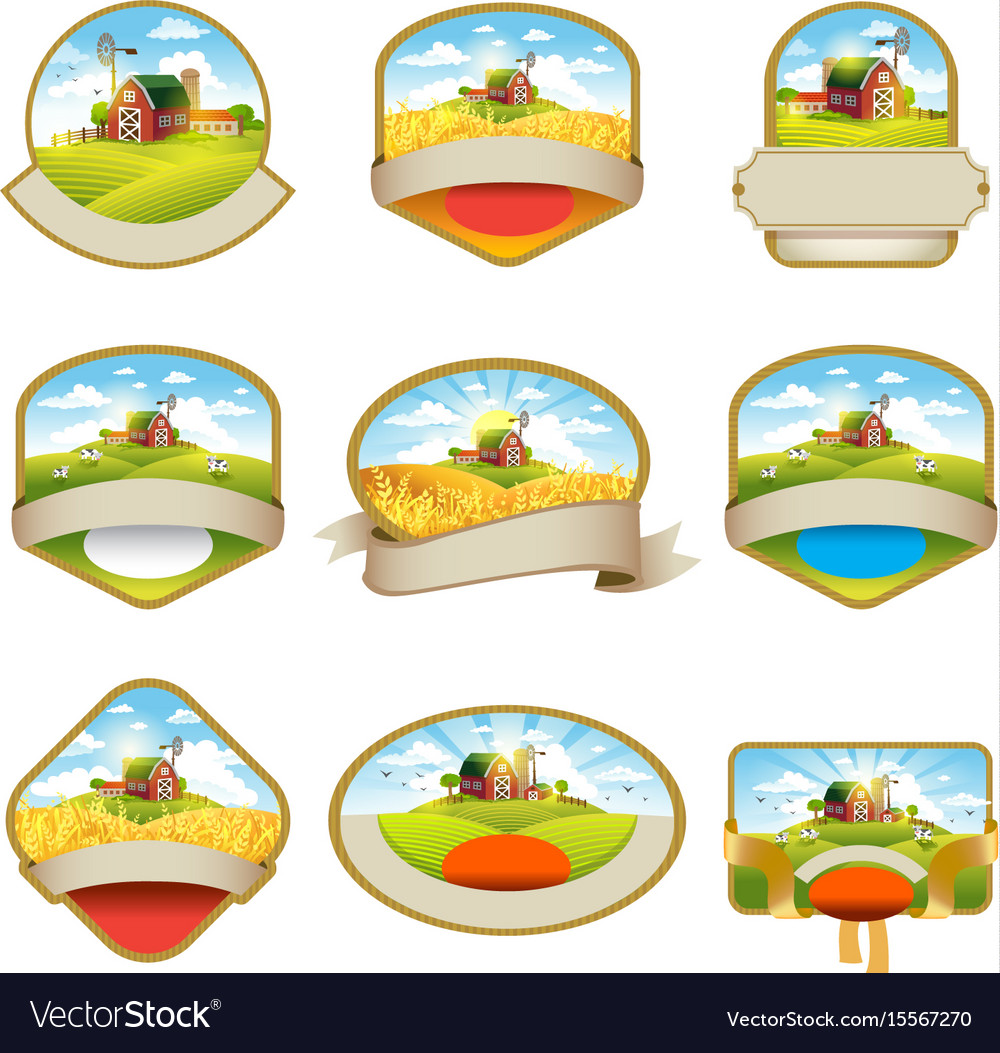 Labels with the image of a farms fields and