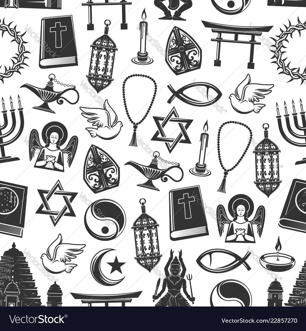 Religious symbols seamless pattern