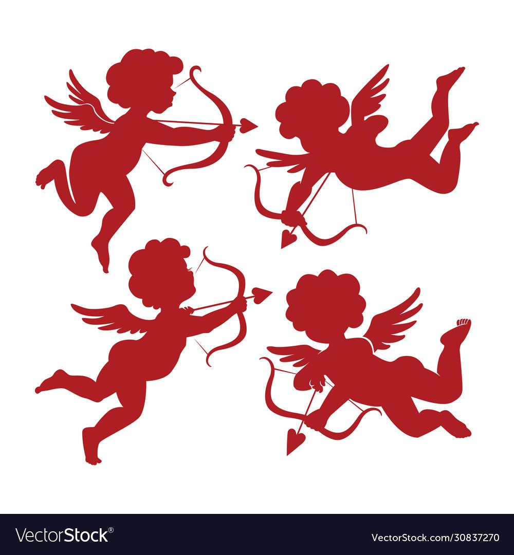 Set cute cupid silhouettes